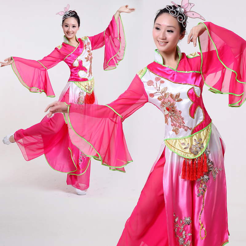 3 pcs Plus Size Long Sleeve Women Group Dance Costume Female Dancer Costume Chinese Traditional ...