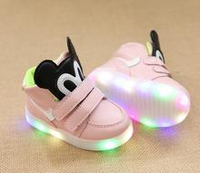 Children Sneakers High Boots Girls Child Led Light Sports Shoes Luminous Glowing Kids Casual Flats Shoes For Baby  Girls 4 color
