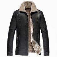 2017 Winter Jacket Men High Grade Business Casual Jacket Mens Fur Quality PU Leather Men Coat