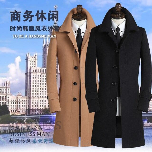 Black khaki grey 219 autumn mens trench coat mens cashmere coat casual slim long design winter wool coat men clothing S - 9XL