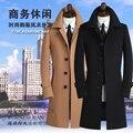Khaki preto cinza 2017 outono dos homens trincheira casaco casaco de caxemira dos homens ocasional projeto longo fino casaco de lã de inverno dos homens de roupas S-9XL