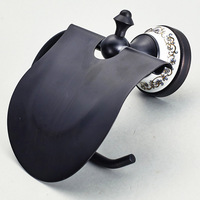Toilet Paper Roll Holder Wall Moun Rack toilet paper holder Vintage Black Paper Holder Bathroom Accessories 7823