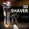 Новый Делюкс Ротари 3D Перезаряжаемые Влажной Чистки мужская Беспроводная Электрическая Бритва