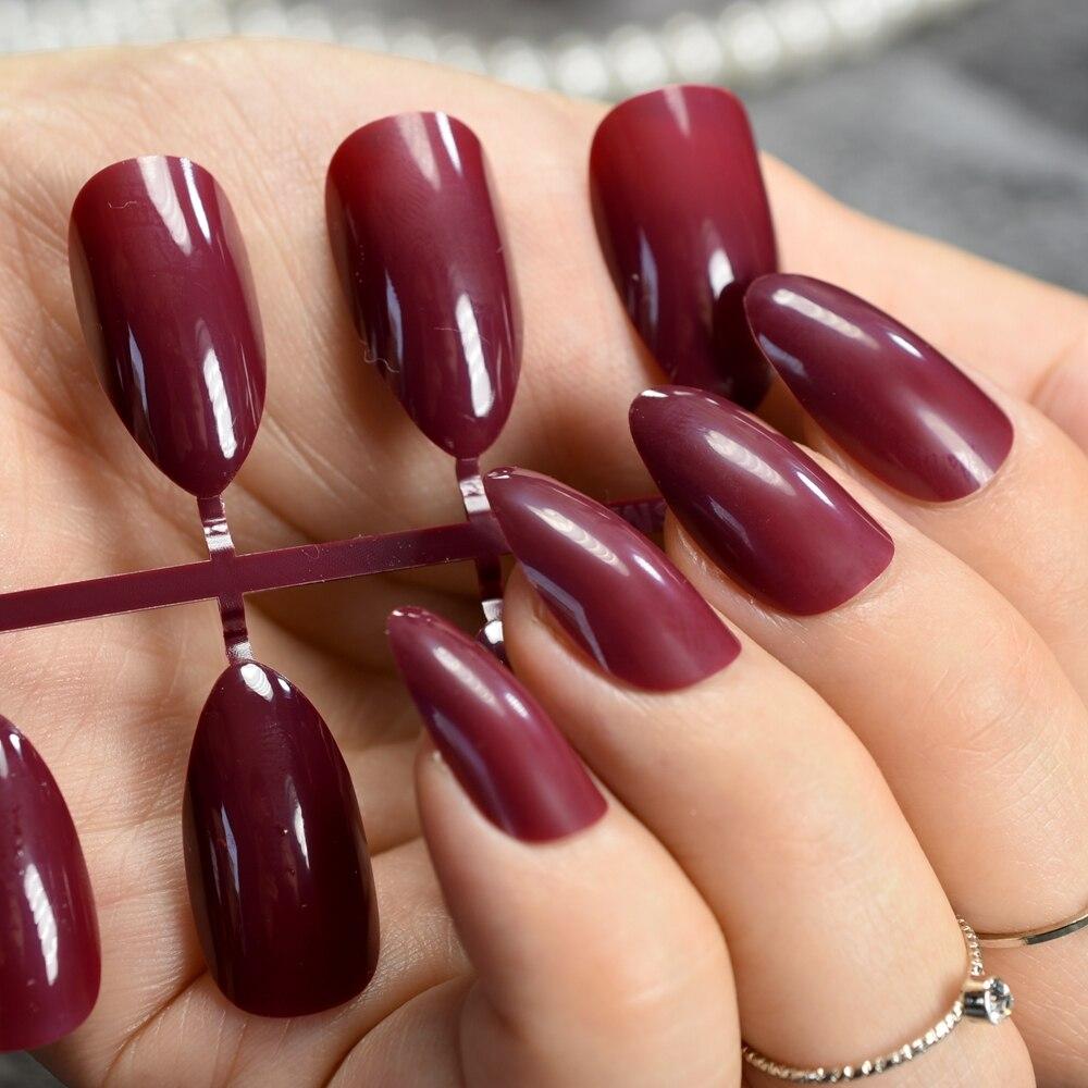 24Pcs Darkest Red Short Stiletto Nails Chocolate Acrylic False Nails ...