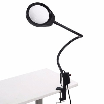 LED Illuminating Magnifier 10X 20X Optical Glass Desk Clip-on Magnifying Glass