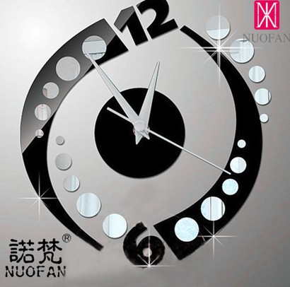 030220 Silver Dollar Black Creative DIY Home Decoration Fashion Mirror Wall Clock Stickers Clock Modern