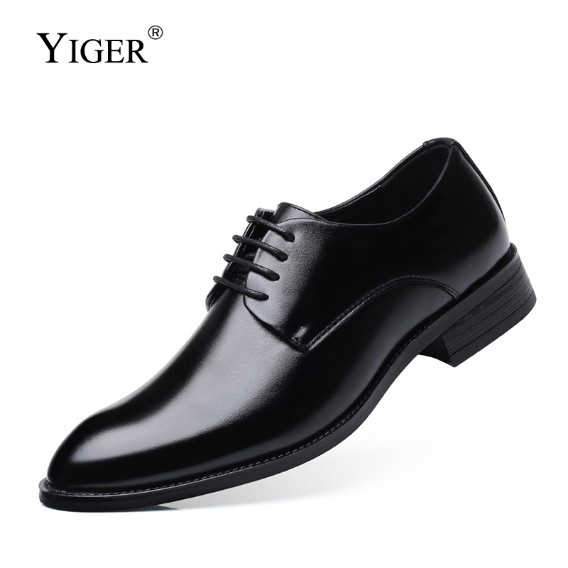 YIGER Men Formal Shoes Man Oxford Shoes Leather Lace-up Large Size Male Dress Shoes Black Brown Big Size Business Shoes    0335