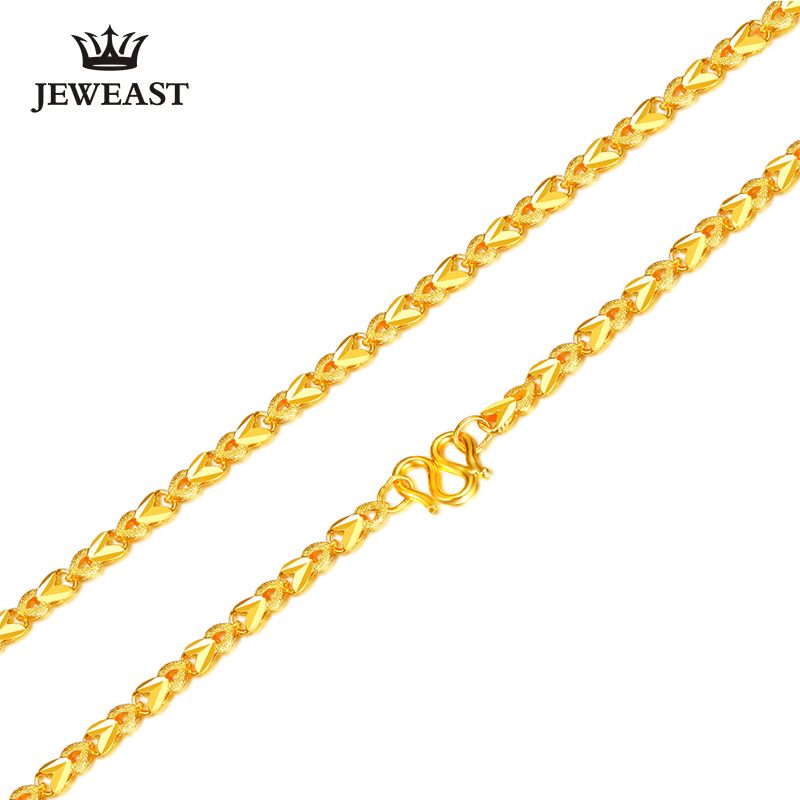 24K Pure Gold Necklace Real AU 999 Solid Gold Chain Simple Brightly Moving Upscale Classic Party Fine Jewelry Hot Sell New 2018 2018 new hot middle east fine jewelry colorful crystal sweater chain bracelet candy color gold rose necklace cute party necklace