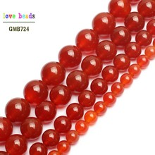 Natural Stone Beads Smooth Round Red Carnelian Onyx Loose Beads For Jewelry Making 15.5
