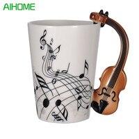 Whosale 10pcs Set Violin Guitar Music Bone Handle Ceramic Cup Coffee Tea Porcelain Mug