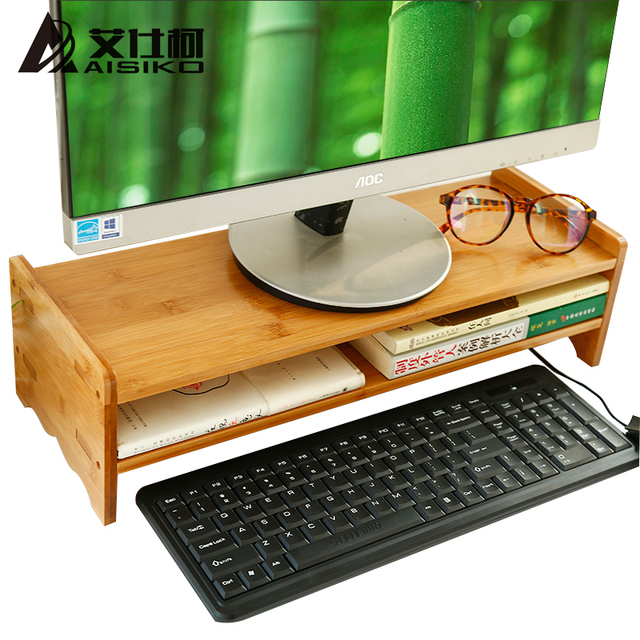 Luxury Bamboo Standing Desk Or Monitor Stand Riser Office