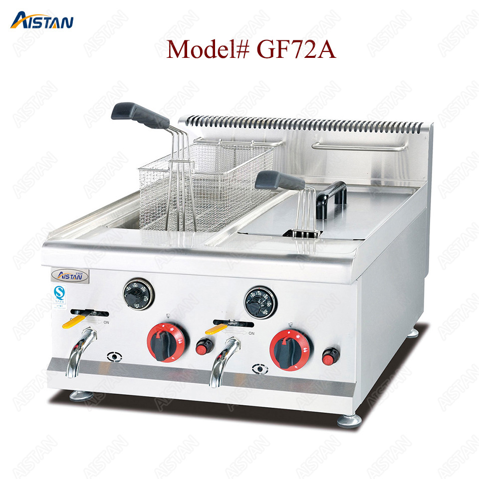 GF71A/GF72A/GF73A commercial counter top stainless steel big volume lpg gas chicken deep fryer machine with basket 2