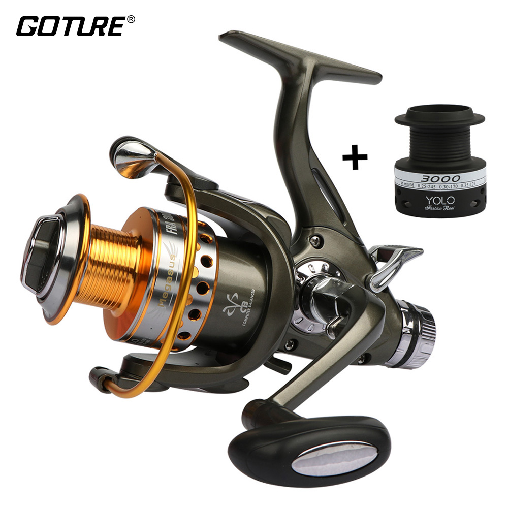 Goture Spinning Fishing Reel Double Drag Wheel Metal Spool Carp Reel 5.2:1 3000-6000 Saltwater Freshwater Fishing Tackle trulinoya jaguar spinning fishing reel 1000 2000 3000 double metal spool carp wheel fishing tackle 10bb 5 2 1
