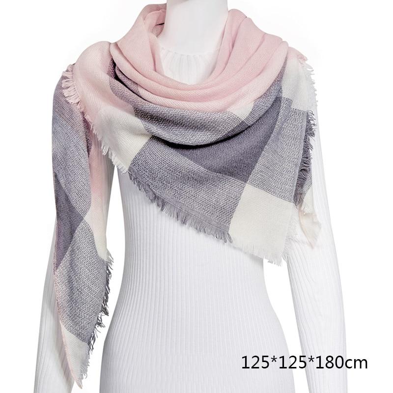 Горячая Распродажа, Модный зимний шарф, Женские повседневные шарфы, Дамское Клетчатое одеяло, кашемировый треугольный шарф,, Прямая поставка - Цвет: B7