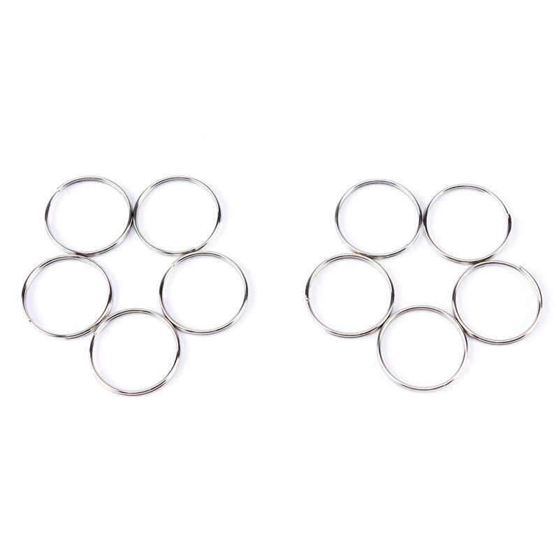 10 pc/set 1.2*25mm Liga Chaveiro de Metal Chave Titular Anéis de Divisão de Prata Unisex Pingente Acessórios Jóias DIY