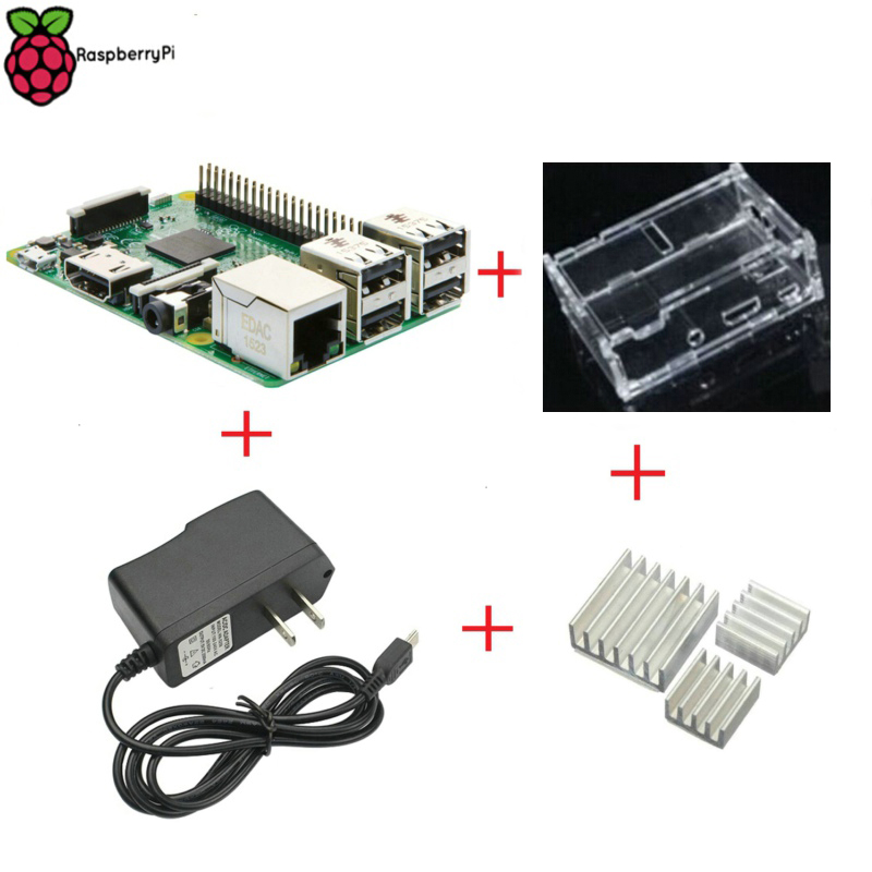 Prix pour Raspberry Pi 3 modèle B 1 GB RAM 1.2 GHz Quad - Core ARM 64 bocado CPU avec RPI 3 Clear Case + 5 V 2.5A Power Adapter + dissipateur de chaleur