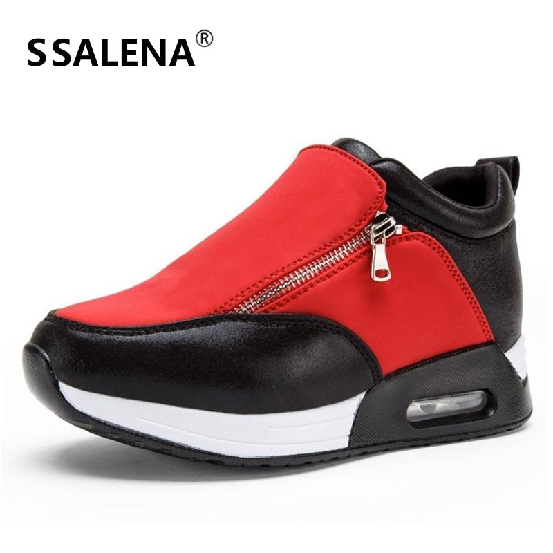 Femmes plate-forme chaussures femme Zipper Swing mocassin femmes Fitness sans lacet minceur chaussures décontracté appartements # B2357
