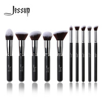 New Professional 10pcs Black Silver Foundation Blush Liquid Brush Kabuki Makeup Brush Tools Set