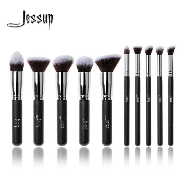 New Jessup Brand Professional 10pcs Black/Silver Foundation blush Liquid Kabuki brush Makeup Brushes tools set Beauty Cosmetics