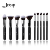 New Professional 10pcs Black Silver Foundation Blush Liquid Brush Kabuki Makeup Brush Tools Set