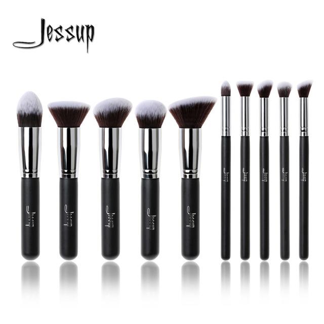 Nova marca profissional de jessup 10 pcs preto/prata fundação de blush líquido pincel kabuki makeup brushes set ferramentas de beleza cosméticos