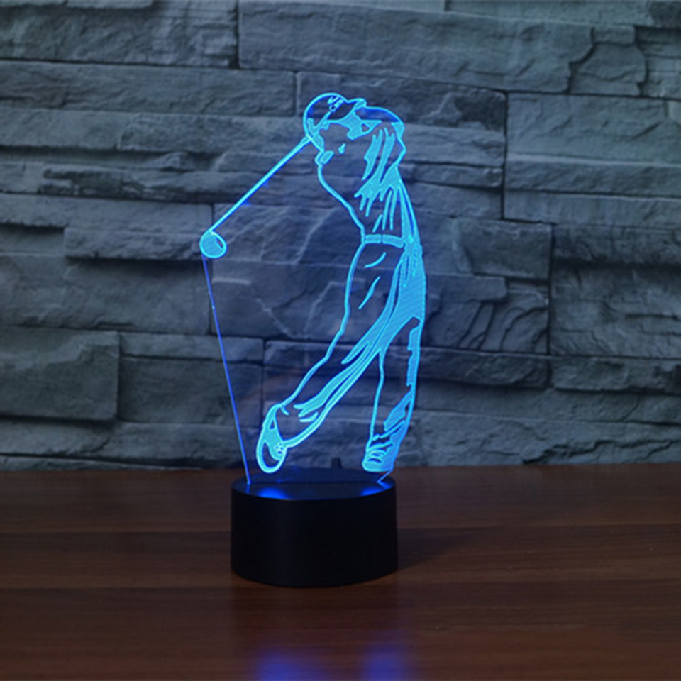 7 Colors Changing Acrylic Play Golf 3D Visual Lamp Led USB Touch Table Lamp Sleep Night Light Decor Gifts Lighting Light Fixture