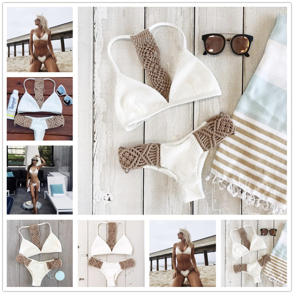 2018 Bikinis White Knitting Sexy Bikini Set Women Hollow Out Low Waist Maillot de Bain Femme Strappy Lady Biquini Bathing Suit