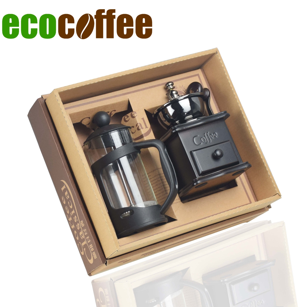 Ecocoffee Coffeeware Set 350ml French Press Manual Coffee Grinder DIY Household Coffeeware Gift Set for Family