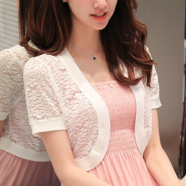 New summer lace shawl knit cardigan jacket wild female short chiffon sleeve short sleeves lace cardigan thin short coat  XY5061 3