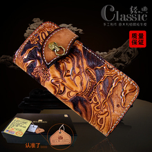 HK OLG.YAT Italian Vegetable tanned leather handmade wallet men purse long hasp bag men wallets Yasha mens handbag Choi cloth