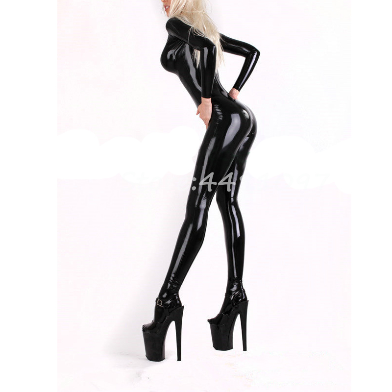 Black Latex Sexy Women Catsuit Tight Latex Rubber Zentai With Latex Socks Sheath Body Suit for