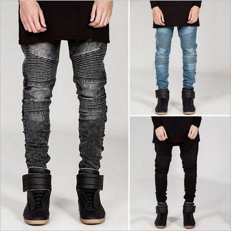 Mens Skinny Jeans Men Slim Fit Pleated Punk Biker Denim Hip Hop Motorcycle Rock Rap Jeans Blue Grey Black White Pants Plus Size  miss booty