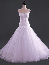 Elegant Sweetheart Sleeveless Wedding Dress Strapless Applique Mermaid Vestidos De Novia NM 502