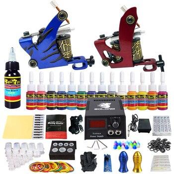 цена на STIGMA Tattoo Complete Tattoo Kit 2 Pro Machine Guns 14 Inks Power Supply Foot Pedal Needles Grips Tips TK210