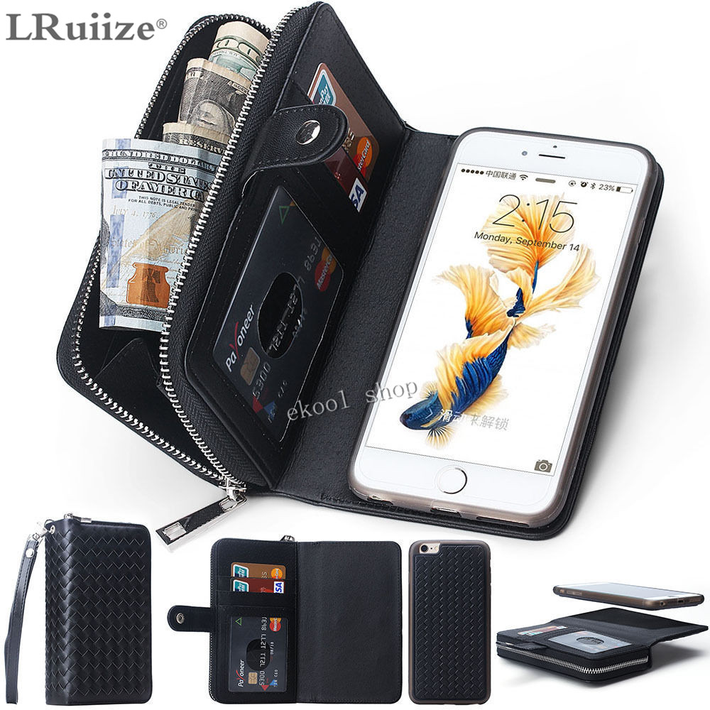 Lady Women PU Leather Zipper Handbag Woven Wallet Purse with Card Slot Phone Case Cover For Apple iphone X 8 7 6 6S 10/Plus 5 SE