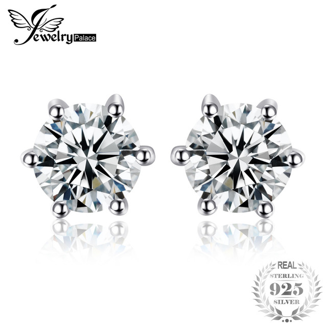 JewelryPalace Round 1.2ct Natural White Topaz Earrings Stud Solid 925 Sterling S