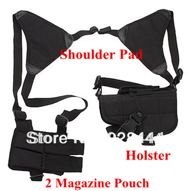 Military Tactics Adjustable Outdoor Sports War Game Oxter Holsters with 2 Magazine Pouch (Black)