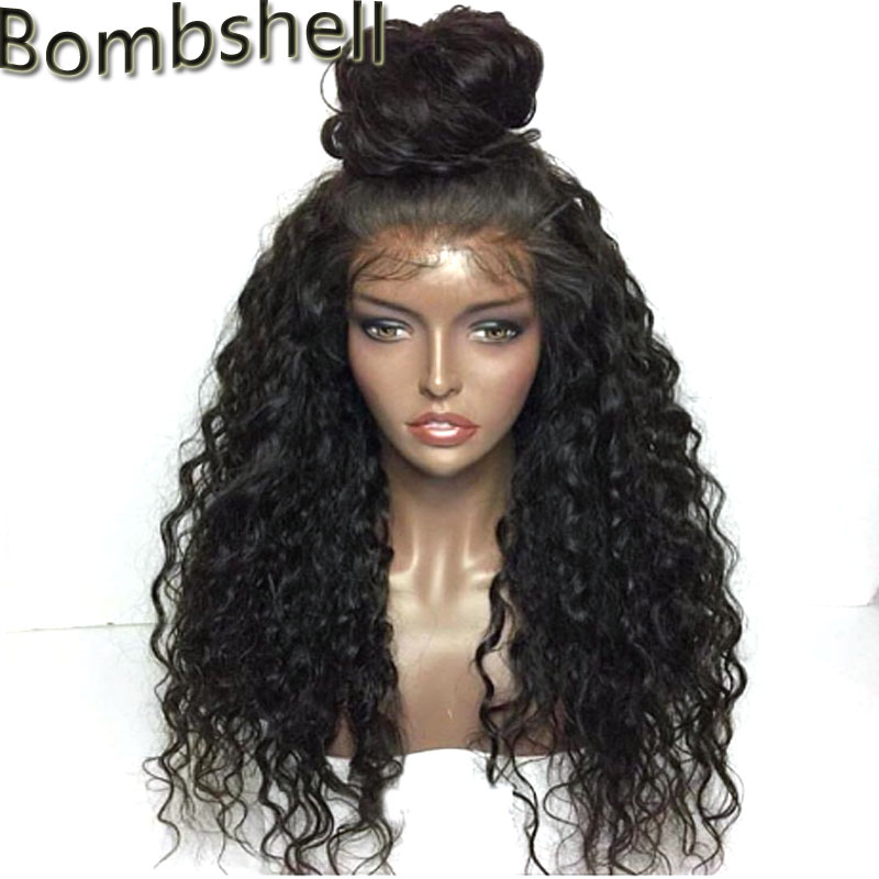 Bombshell 180 Density Black Loose Curly Hand Tied Synthetic Lace Front Wigs Natural Hairline Free Parting
