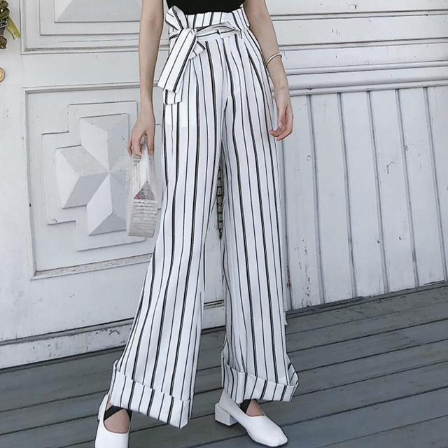 c08701896a High Waist Tie Up Striped Wide Leg Pants Women Capris Chic Street Wear  Casual Pants 2018
