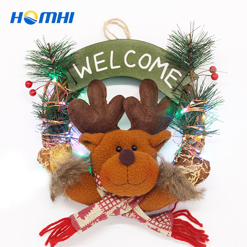 Christmas wreath LED string elk decorate string lights outdoor Christmas garland New Year's product gift indoor holiday lamp christmas bowknot wreath velvet wide choker page 8