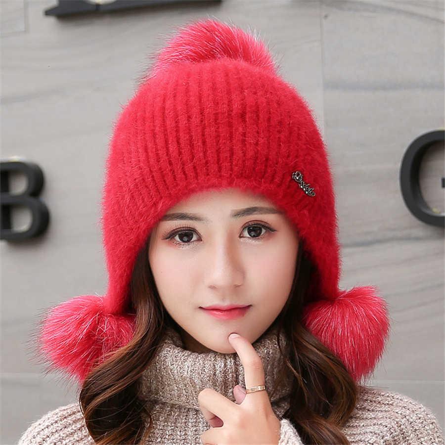 กระต่าย Plush หมวกผู้หญิงแฟชั่นฤดูหนาว Beanies หวานน่ารัก Hedging หมวกกำมะหยี่หมวกขนสัตว์นักเรียน Ball หมวกถักอบอุ่นหมวก