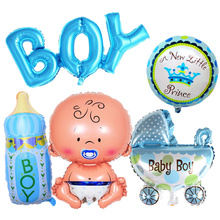 5pcs/ Set Baby Shower Birthday Theme Party Decor, Its A Boy / Girl Letters Foil Balloons DIY Decorative Inflatable Air Balloons