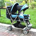 Direct sale New desing easy control Twins baby stroller front and back light folding double stroller baby car