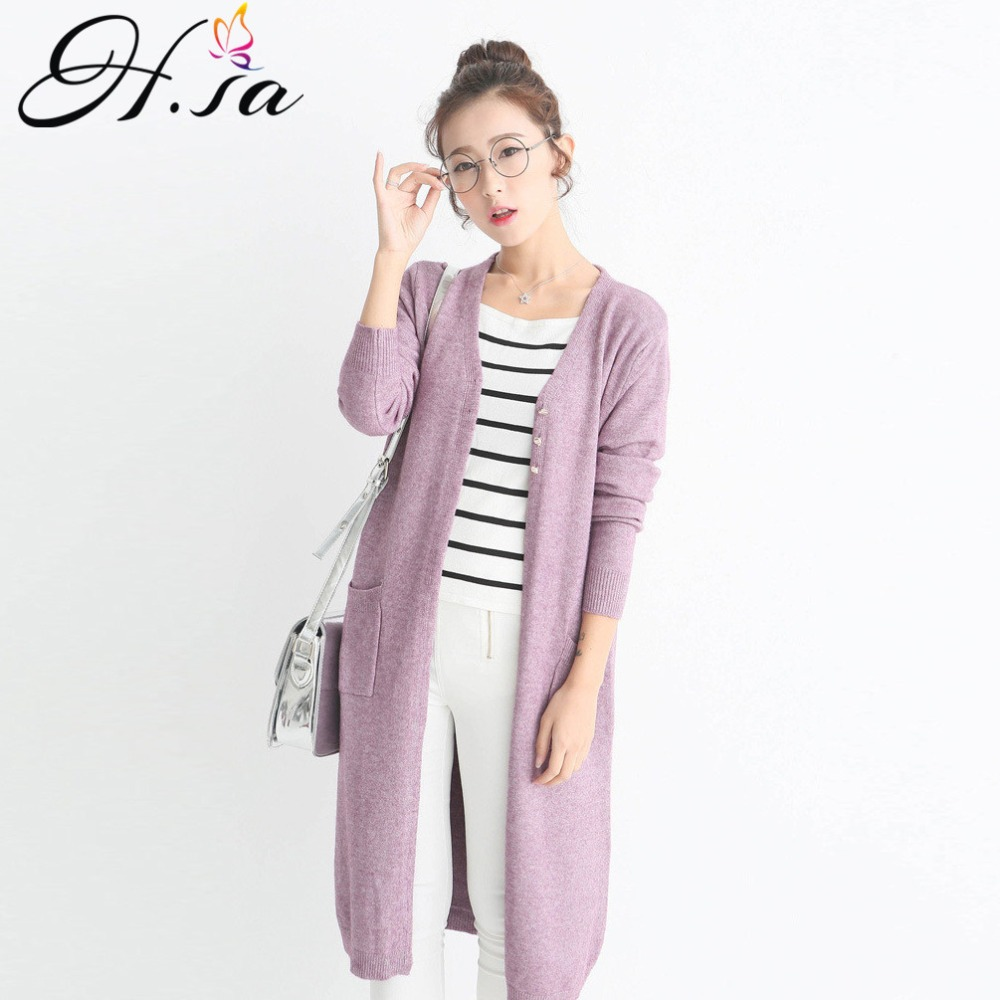 H.SA New Arrivals Women Spring Long Sweater And Cardigans Button Up Open Stitch Oversized Fashion Knit Jacket Long Sweater Coat
