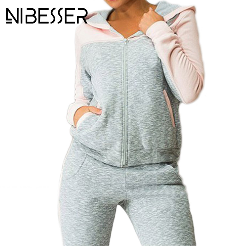 NIBESSER Sportsuit women Fashion casual fleece Hooded jacket tracksuit Patchwork sweat Pant Suit two piece clothing set Pink