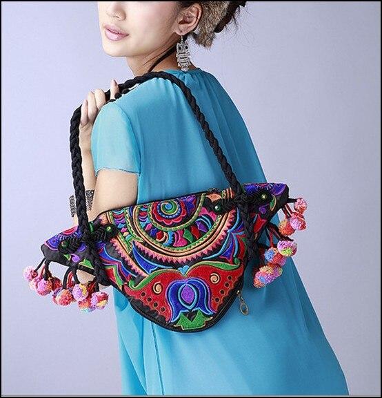 Newest original Ethnic double-sided embroidery canvas women handbag Vintage pure handmade pompon triangular Shoulder Bags national trend women handmade faced flower embroidered canvas embroidery ethnic bags handbag wml99