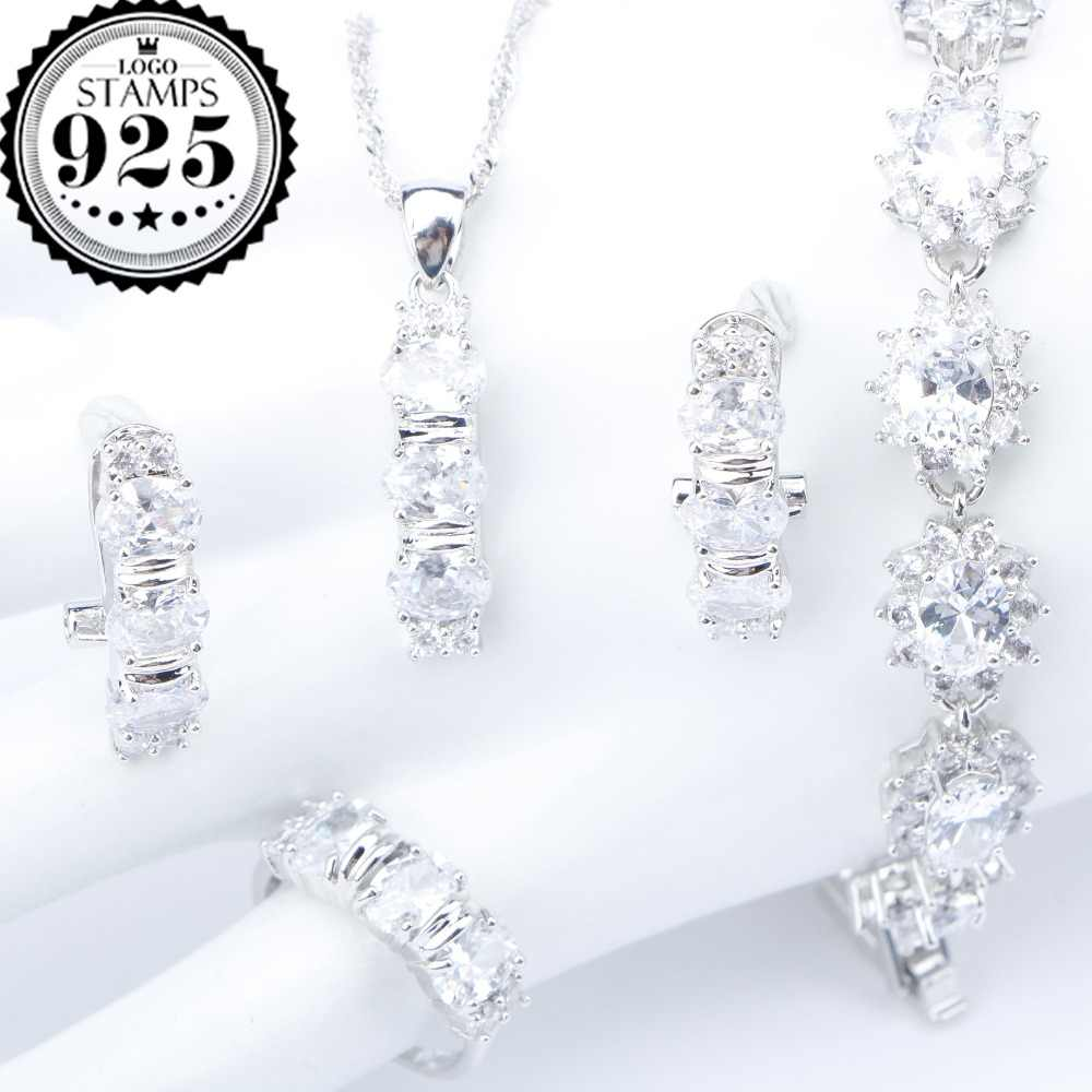 White Zirconia Silver 925 Costume Bridal Jewelry Sets Pendant Necklace Bracelets Earrings Rings For Women Set Jewellery Gift Box