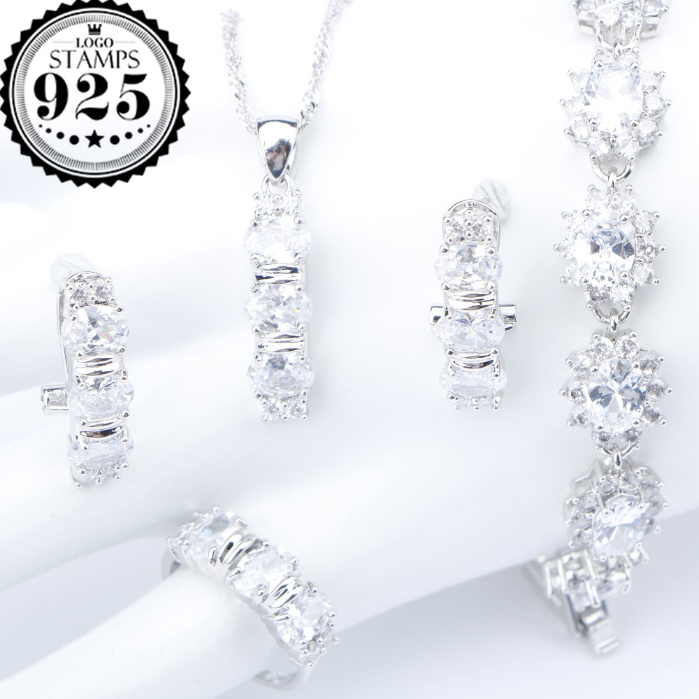 White Zirconia Silver 925 Costume Bridal Jewelry Sets Pendant Necklace Bracelets Earrings Rings For Women Set Jewellery Gift Box