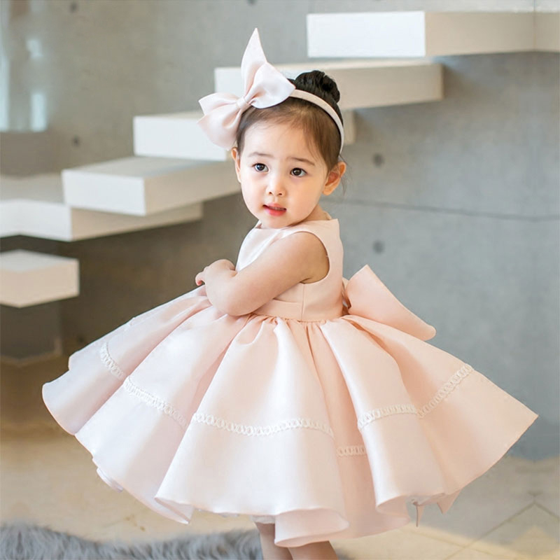 New Baby Dress Pink Tulle Bow Ball Gown White Princess Girl Dresses Sleeveless Flower Girl Dress First Communion Dress E319 fashionable sleeveless sequins embellish multilayered flower spliced mini ball gown dress for girl