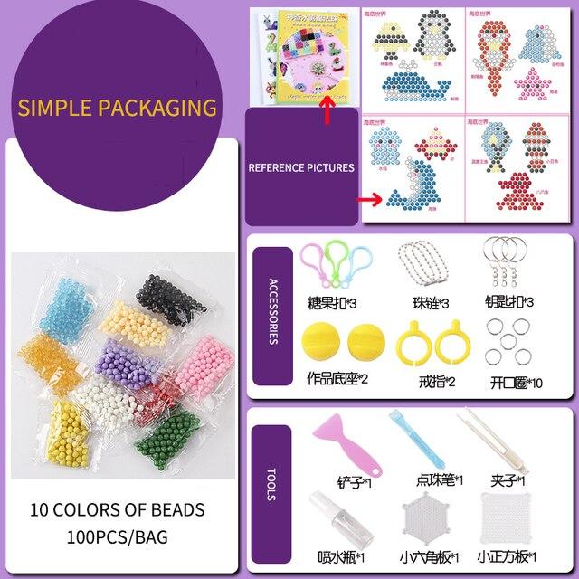 100-1000Pcs/Set 24 Colors 5mm Water Spray Aqua Perlen Magic Beads Educational 3D Puzzles Accessories Kit for Children Kids Toys